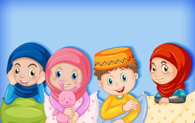 Moslim kinderen stripfiguur Premium Vector