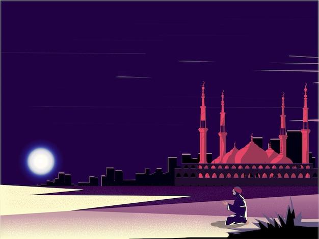 Moslim man die bidt in ramadan in de woestijn met moskee Premium Vector