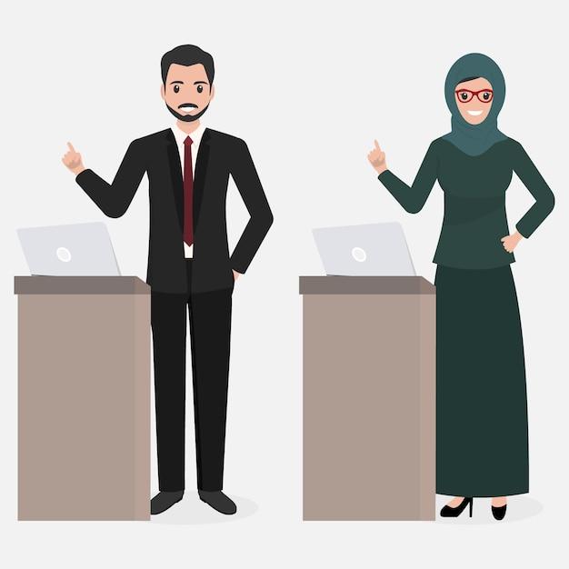 Moslim man en vrouw presentatie Premium Vector