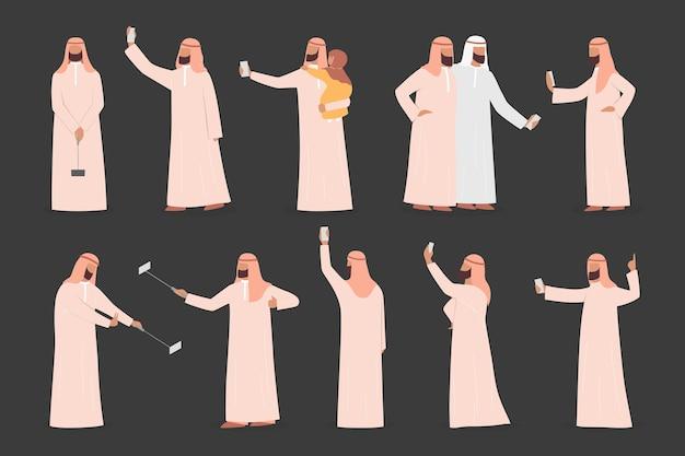 Moslim man selfie set nemen. arabisch personage dat een foto van zichzelf neemt met vrienden en familie. Premium Vector