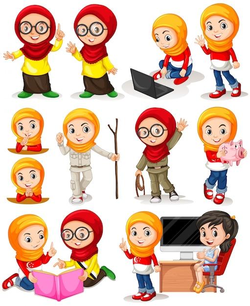 Moslim meisje in verschillende acties illustratie Gratis Vector