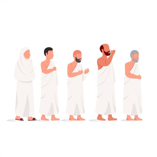 Moslim mensen dragen ihram hajj illustratie Premium Vector