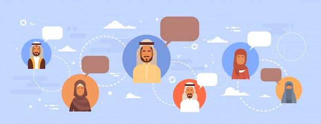 Moslim mensen praten chat media communicatie sociaal netwerk arabische mannen en vrouwen Premium Vector
