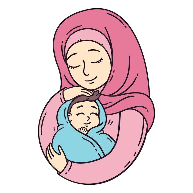 Moslim moeder bedrijf baby. Premium Vector