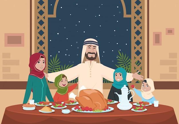 Moslim ramadan diner. saoedische familie met kinderen thuis eten. ramadan cartoon afbeelding Premium Vector