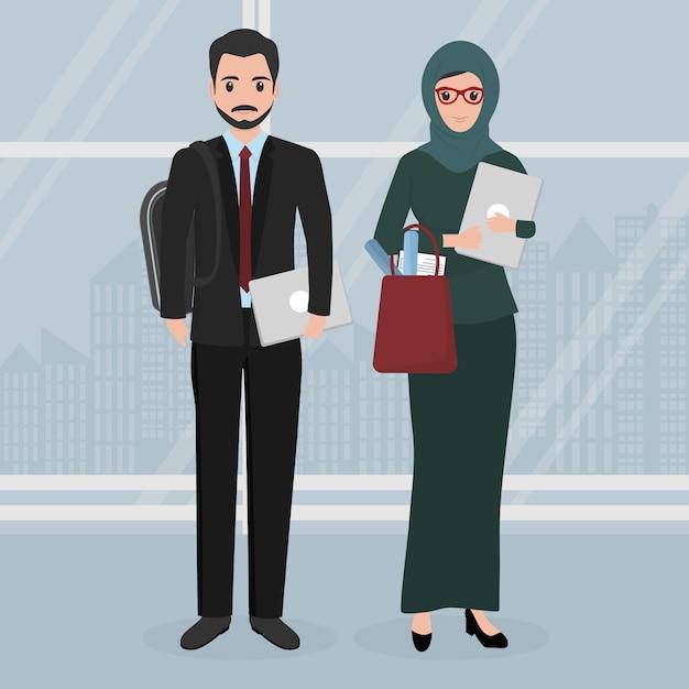 Moslim zakenkarakter mensen Premium Vector