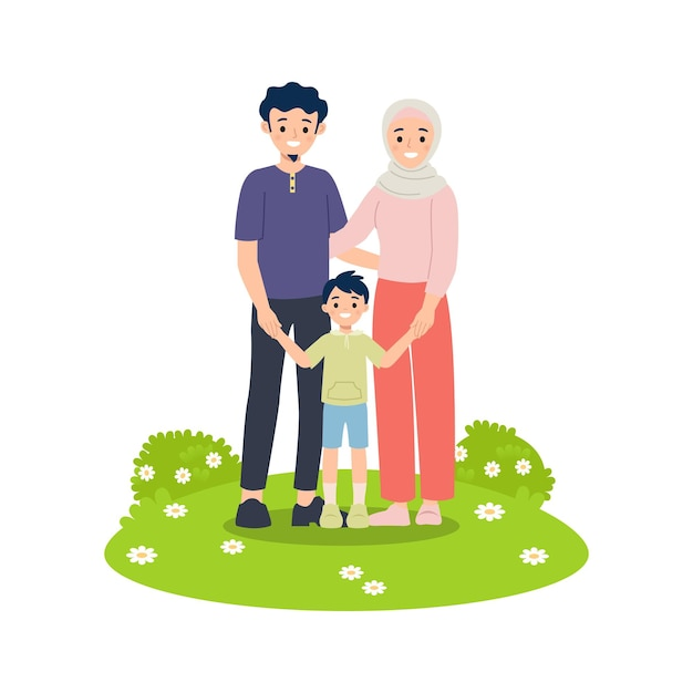 Moslimfamilie bestaat uit moeder, vader en zoon die hand bij elkaar houden. gelukkig gezin concept geïsoleerd op wit. Premium Vector