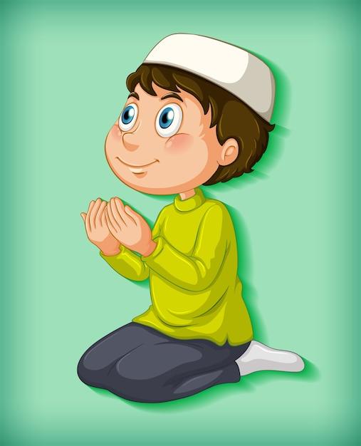 Moslimjongen die op kleurverloop bidt Gratis Vector