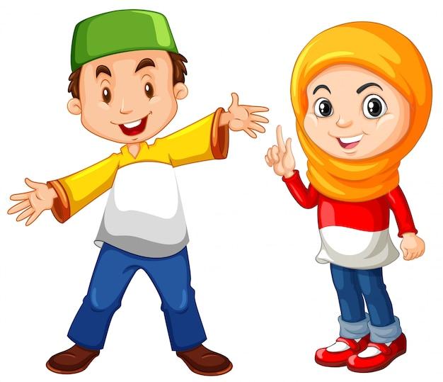 Moslimjongen en meisje in traditioneel kostuum Gratis Vector