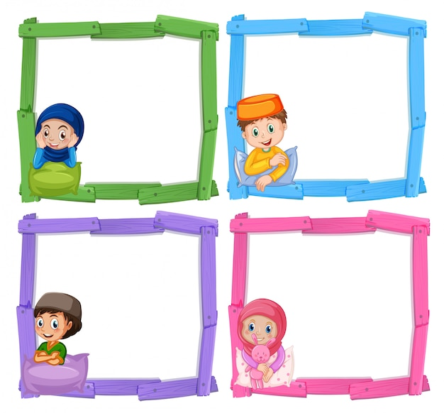 Moslimkinderen op houten frame Gratis Vector