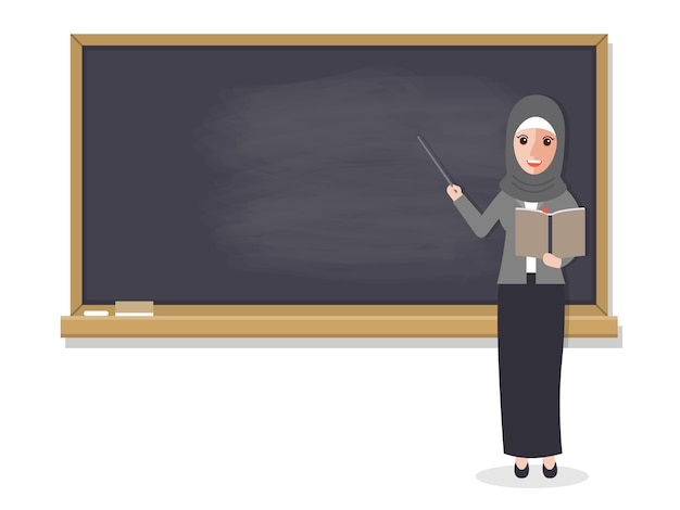 Moslimleraar die student in klaslokaal onderwijst. Premium Vector