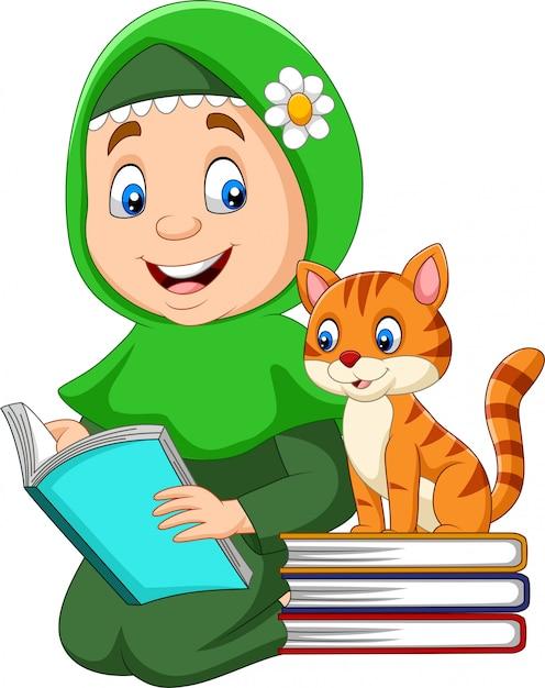 Moslimmeisje dat een boek met kat leest Premium Vector