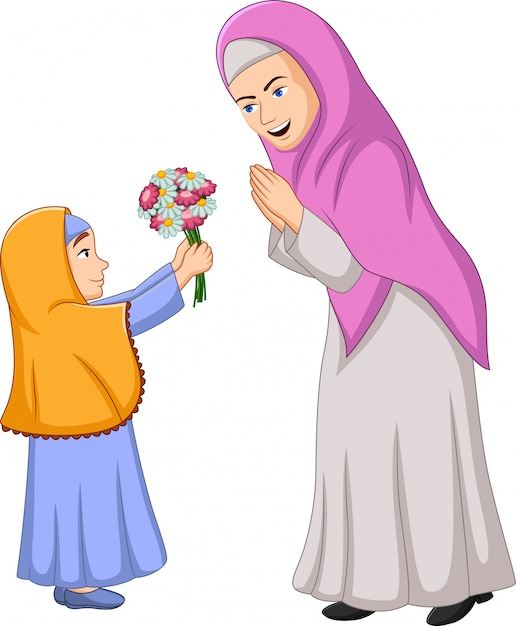 Moslimmeisje dat een bos van bloemen geeft aan haar moeder Premium Vector