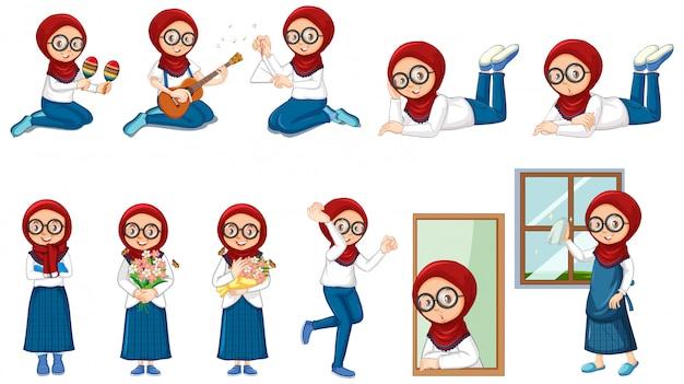 Moslimmeisje dat vele activiteiten op wit doet Gratis Vector