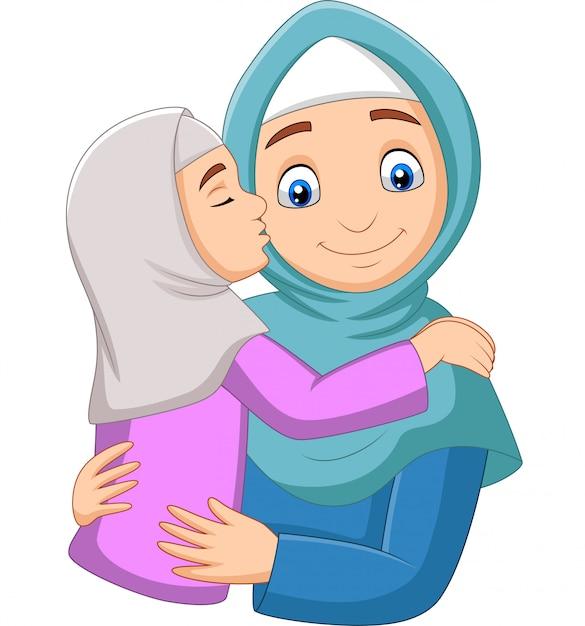 Moslimmeisje die de wang van haar moeder kussen Premium Vector