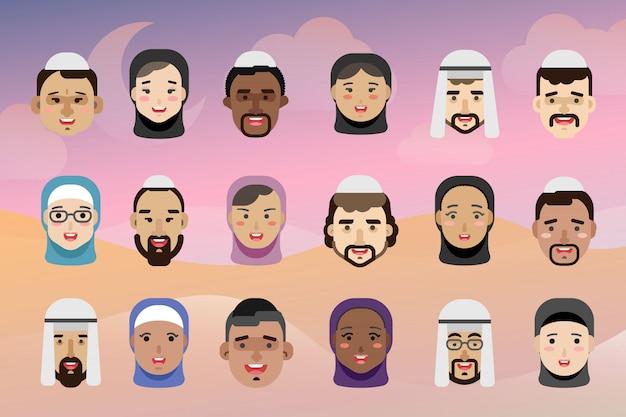Moslimmensen avatars, mannen en vrouwen van verschillende nationaliteiten Premium Vector