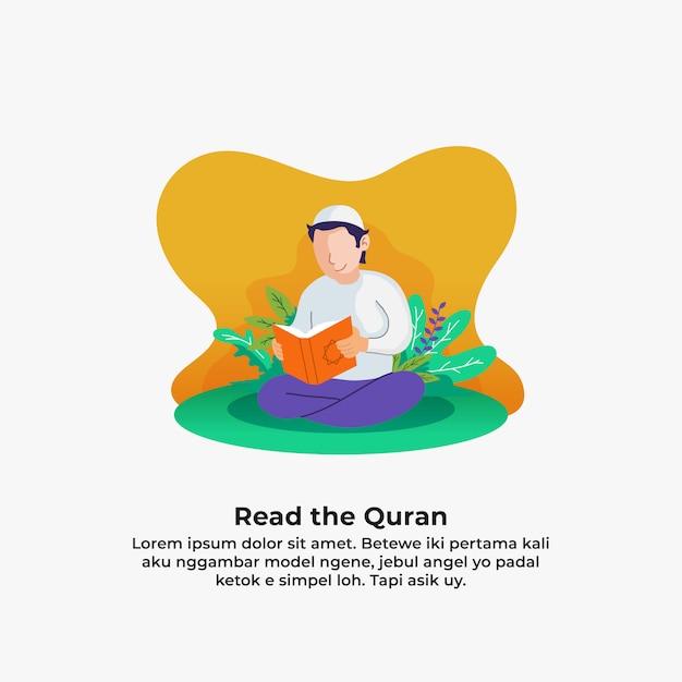 Moslimmensen die koran lezen het heilige boek van islam met blad en bloemaard. ramadan Premium Vector