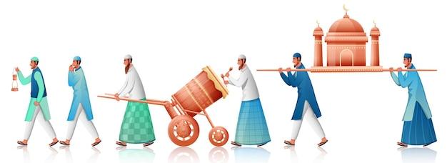 Moslimmensen die moskee met spelen tabuh bedug (trommel) op witte achtergrond dragen. Premium Vector