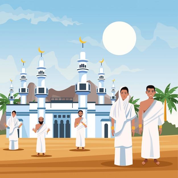 Moslims personen in hadj mabrur reizen viering vector illustratie ontwerp Premium Vector