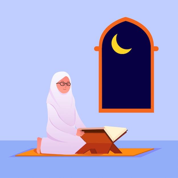 Moslimvrouw die koraal islamitisch heilig boek leest Premium Vector