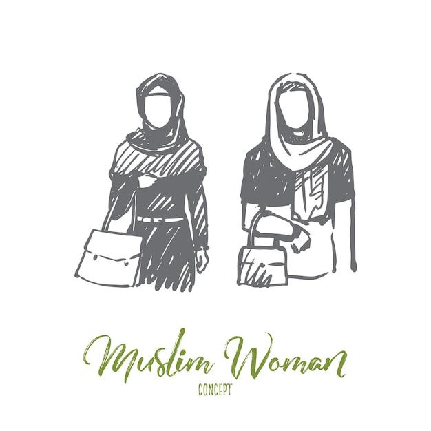 Moslimvrouw illustratie in de hand getekend Premium Vector