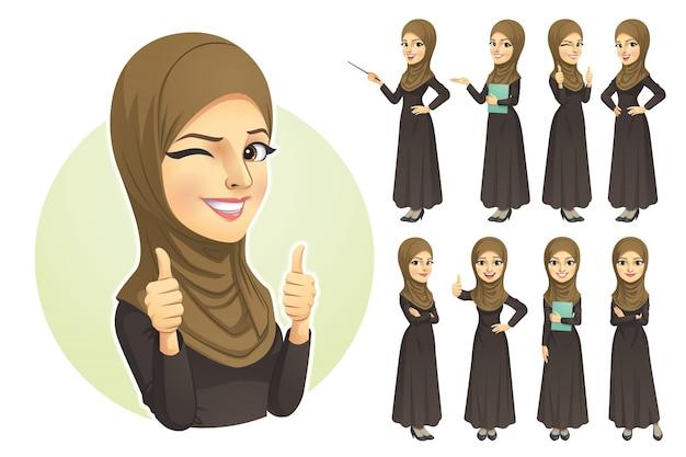 Moslimvrouw met hijab-tekenset Premium Vector