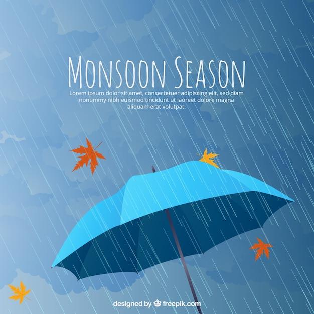 Mosoon seizoen samenstelling met platte ontwerp Gratis Vector