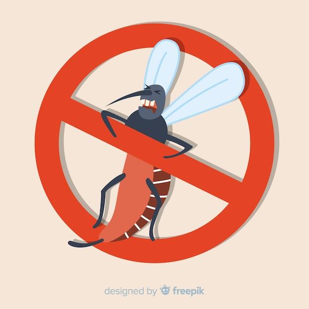 Mosquito waarschuwingsbord met platte ontwerp Gratis Vector