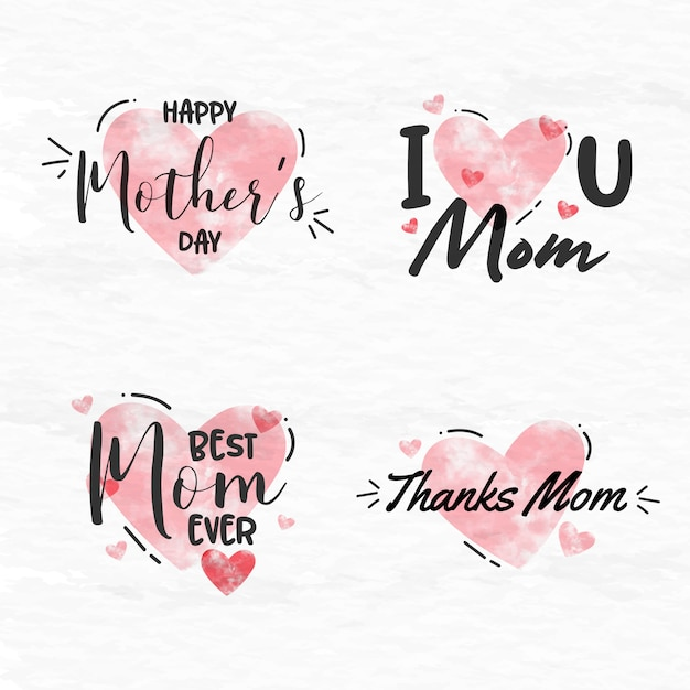Mother's day aquarel labelverzameling Premium Vector