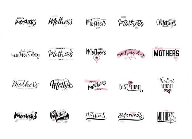 Mother's day stickers instellen Premium Vector