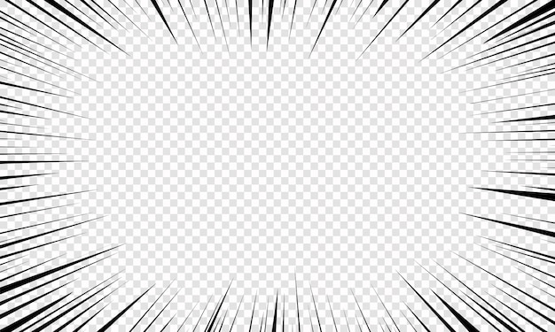 Motie radiale lijnen achtergrond voor strips. heldere zwart-witte lichtstrepen barsten uit elkaar. flitsstraal gloed. vliegende deeltjes, grafische textuur. explosie met speed lines. illustratie,. Premium Vector