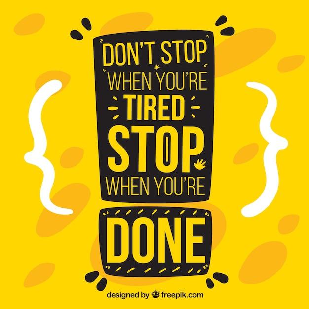 Motivatie citaat in gele kleur Gratis Vector