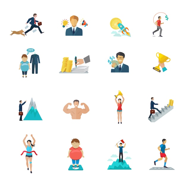 Motivatie op kantoor werk en sport pictogrammen flat set Gratis Vector