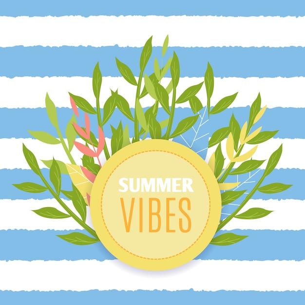 Motiverende citaat zomer vibes vlakke afbeelding. naadloze achtergrond Premium Vector