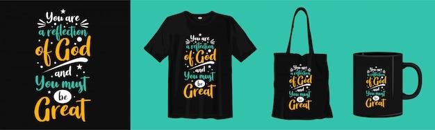 Motiverende citaten over religie. typografie t-shirt, draagtas en bekerontwerp Premium Vector