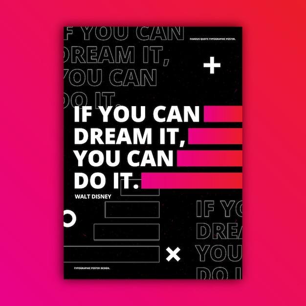 Motiverende citaten typografische poster Gratis Vector