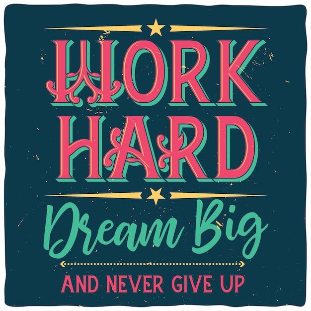 Motiverende poster met inspirerend citaat Gratis Vector