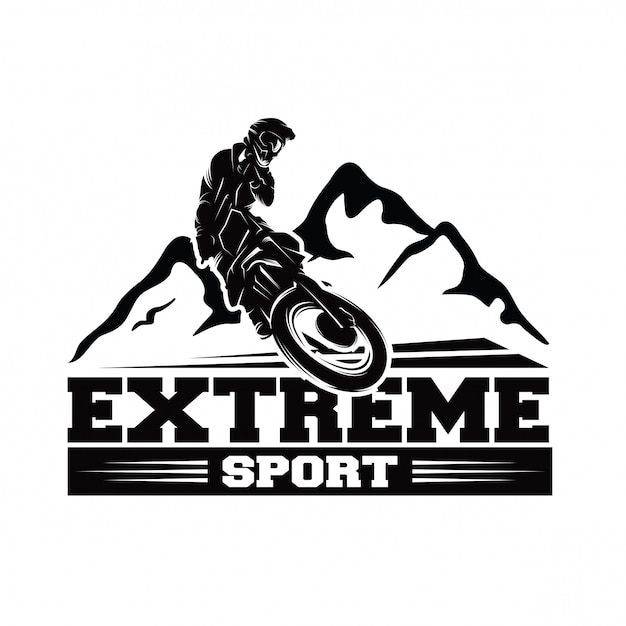 Moto track of motorcrosssprong logo vector Premium Vector