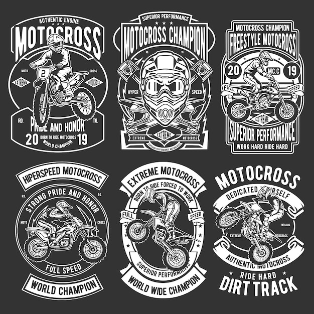 Motocross badges-pakket Premium Vector
