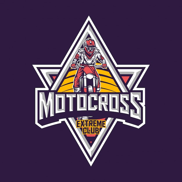 Motocross extreme club premium vintage badge-logo Premium Vector