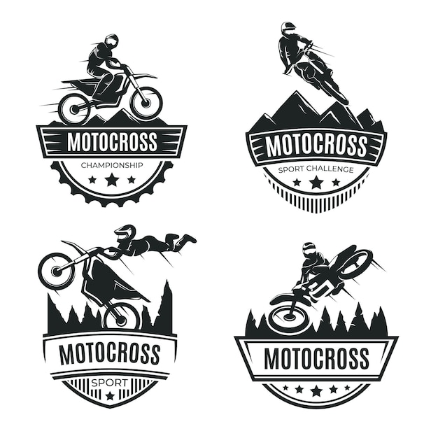 Motocross logo collectie concept Gratis Vector