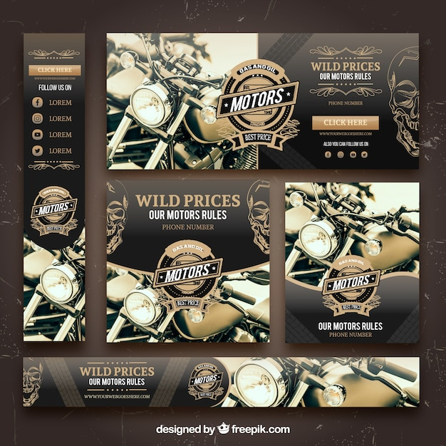 Motor banner collectie Premium Vector