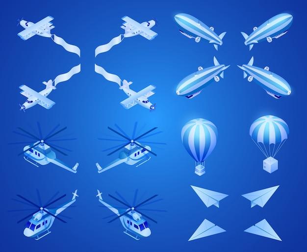 Motor en lichtere luchtvliegtuigen isometrische vector Premium Vector