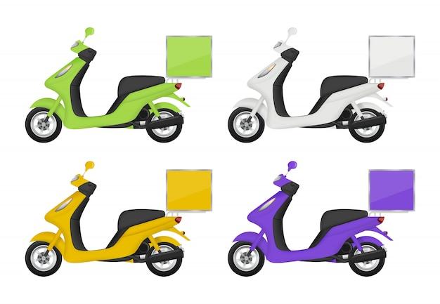 Motor gekleurd. aanzichten van bezorgservice vervoer scooter bovenzijde achterkant en onderkant 3d-foto's geïsoleerd Premium Vector
