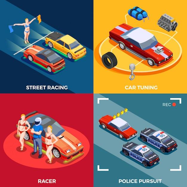 Motor racing ontwerpconcept Gratis Vector