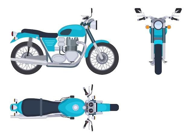 Motor zij- en bovenaanzicht Premium Vector