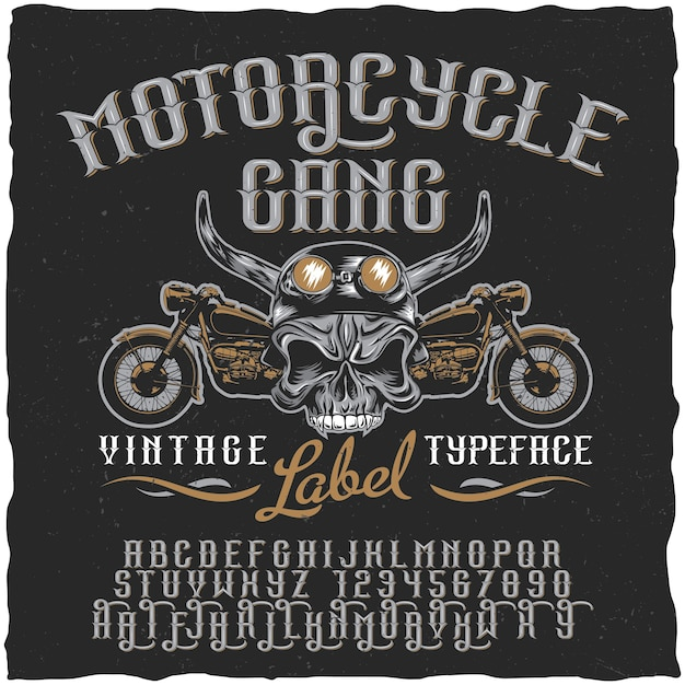Motorbende label lettertype poster met schedel op helm en fietsen illustratie Gratis Vector