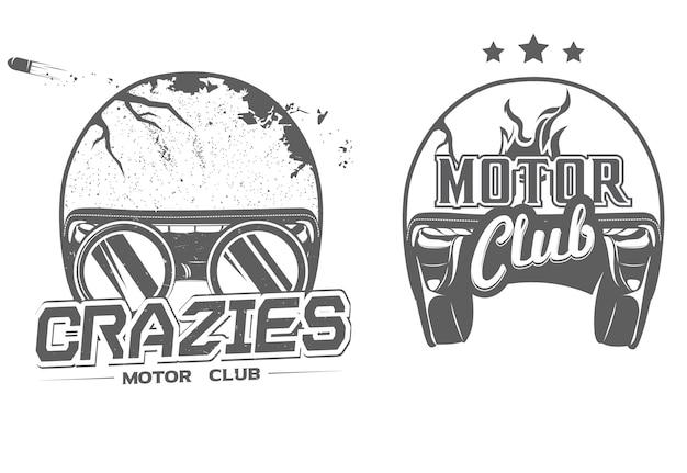 Motorclubembleem met fietserhelm en ronde glazen en uitstekend motorclubembleem met fietser open helm, vectorillustratie Premium Vector
