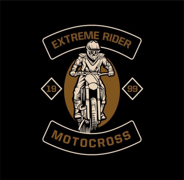 Motorcross embleem met extreme renners Premium Vector