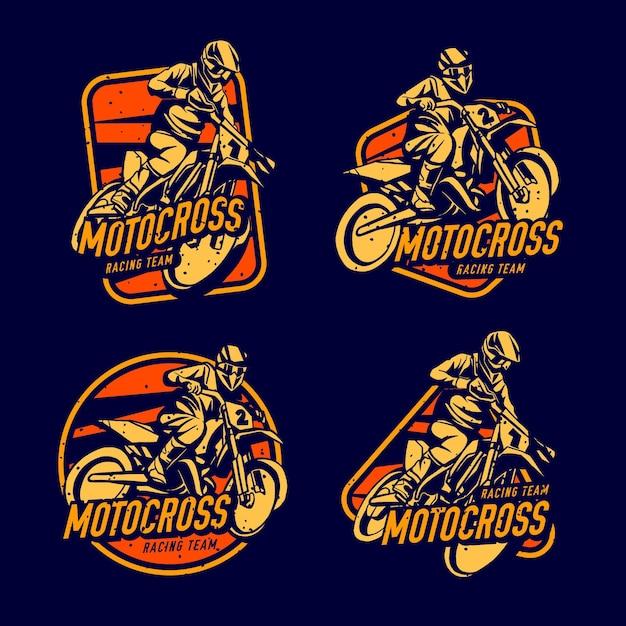 Motorcross logo collectie Gratis Vector